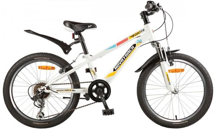 Велосипед двухколесный Novatrack Pointer 20 6 скоростейPointer 20 6 скоростейВелосипед двухколесный Novatrack Pointer 20 6 скоростей это велосипед для ребят 7-10 лет, который станет предметом гордости юного велогонщика, ведь на нем, можно переключать скорости и тормозить передним и задним тормозом, тем самым катание превращается в увлекательный процесс.   Вилка велосипеда оснащена амортизаторами, превращая велосипед в настоящий байк, как у «взрослых». Переключение между 6-ю передачами осуществляется задним переключателем, который, для надежности, закрыт металлической защитой. Высота сидения и руля регулируются под рост ребенка, благодаря чему велосипед прослужит не один год.   Pointer 20 предназначен для активной езды и готов к любым испытаниям на детской площадке, в парке и других местах, пригодных для катания.  Особенности: Количество скоростей: 6 Диаметр колес: 20 Материал рамы: Сталь Манетки: Microshift TS-50 Модельный год: 2017 Вилка: амортизационная Задний переключатель: Shimano TY-21 Обода: алюминиевые Возраст: 7-10 Крылья: Пластик<br>