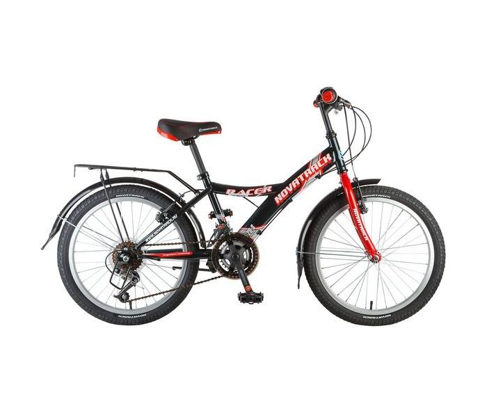 Велосипед двухколесный Novatrack Racer 20 12 скоростейRacer 20 12 скоростейВелосипед двухколесный Novatrack Racer 20 12 скоростей отличный выбор для тех, кто ищет надежный, неприхотливый и удобный подростковый велосипед для своего чада 7-10 лет.   На нем очень легко учиться катанию и управлению многочисленными скоростями, а здесь их целых шесть. Велосипед достаточно компактный и легкий и без проблем уместится в городском лифте при транспортировке на улицу.   Современный дизайн не оставит равнодушным ни одного будущего велогонщика, а, возможно и велогонщицу, ведь эта модель удивительным образом сочетает в себе универсальность рамы и, в то же время, выдерживает привлекательный стиль. На велосипед установлен передний и задний ручной тормоз, укороченные спортивные крылья, подножка и катафоты.  Особенности: Количество скоростей: 12 Диаметр колес: 20 Материал рамы: Сталь Манетки: Microshift TS-50 Вилка: жесткая  Задний переключатель: Shimano TY-21 Обода: алюминиевые Возраст: 7-14 Крылья: Пластик<br>