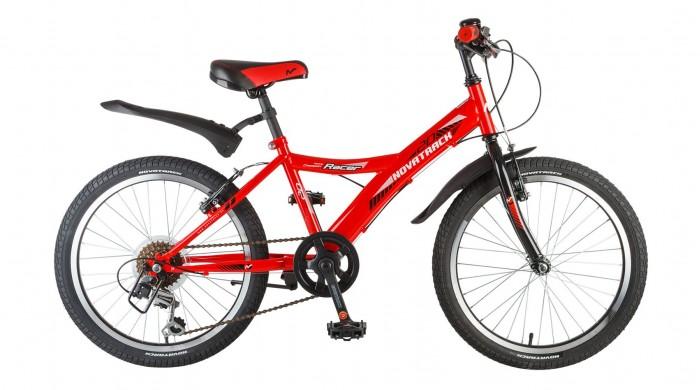 Велосипед двухколесный Novatrack Racer 20 6 скоростейRacer 20 6 скоростейВелосипед двухколесный Novatrack Racer 20 6 скоростей отличный выбор для тех, кто ищет надежный, неприхотливый и удобный подростковый велосипед для своего чада 7-10 лет.   На нем очень легко учиться катанию и управлению многочисленными скоростями, а здесь их целых шесть. Велосипед достаточно компактный и легкий и без проблем уместится в городском лифте при транспортировке на улицу. Современный дизайн не оставит равнодушным ни одного будущего велогонщика, а, возможно и велогонщицу, ведь эта модель удивительным образом сочетает в себе универсальность рамы и, в то же время, выдерживает привлекательный стиль. На велосипед установлен передний и задний ручной тормоз, укороченные спортивные крылья, подножка и катафоты.  Особенности: Количество скоростей: 6 Диаметр колес: 20 Материал рамы: Сталь Манетки: Microshift TS-50 Модельный год: 2017 Вилка: амортизационная Задний переключатель: Shimano TY-21 Обода: алюминиевые Возраст: 7-10 Крылья: Пластик<br>