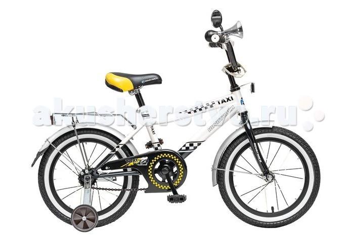Велосипед двухколесный Novatrack Taxi 20Taxi 20Велосипед двухколесный Novatrack Taxi 20 это велосипед для мальчиков в возрасте от 7 до 10 лет.   Дизайнеры позаботились о том, чтобы велосипед понравился будущему велогонщику: стильный дизайн завсегдатая городских дорог, на руле установлено зеркало заднего вида и гудок, такой же громкий, как у настоящих автомобилистов.   На велосипед Novatrack Taxi 20 установлена мягкая накладка и щиток на руле, защита цепи, которая не позволит штанине попасть в механизм, надежный ножной тормоз, для того, чтобы быстро останавливаться в случае необходимости. Своих друзей юный таксист сможет перевозить на надежном хромированном багажнике.  Особенности: Количество скоростей: 1 Диаметр колес: 20 Материал рамы: Сталь Вилка: жесткая Пол: для мальчика Обода: алюминиевые Вес: 11.6 кг Возраст: 7-10 Багажник: Установлен Защита: А-тип<br>