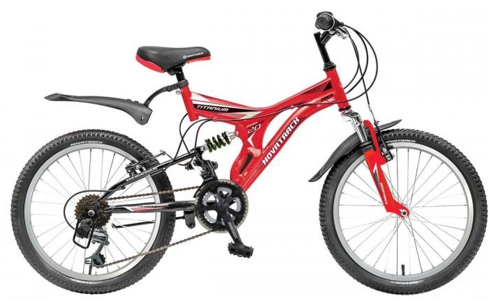 Велосипед двухколесный Novatrack Titanium 20 12 скоростейTitanium 20 12 скоростейВелосипед двухколесный Novatrack Titanium 20 12 скоростей это модель для ребят 7-10 лет, которые уже неодобрительно относится к детским велосипедам и засматриваются на большие горные велосипеды.   На 20-дюймовых колесах можно кататься не только во дворе, но и по более сложным маршрутам – ухабистым парковым тропинкам, небольшим горкам, где езда без амортизаторов была бы не простой. Велосипед оснащен передним и задним ручным тормозом, которые при синхронной работе обеспечивают наилучшее торможение при спуске с наклонной поверхности, а одна из 12 скоростей помогает легко преодолеть сложный подъем. Переключение передач очень нравится мальчишкам, во-первых – это атрибут велосипедов для «знатоков» велоспорта, коим ваше чадо быстрее мечтает стать, во-вторых, ребенок учится анализировать ситуацию и выбирать соответствующую скорость для комфортной езды.   С велосипедом Novatrack Titaniun 20 ваш ребенок точно не засидится дома, а будет активно двигаться на свежем воздухе, эффективно укрепляя мышцы, совершенствуя ловкость и повышая иммунитет.<br>