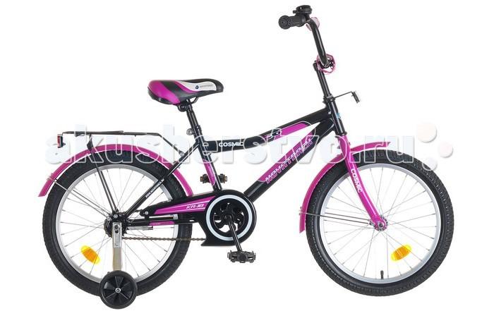 Велосипед двухколесный Novatrack Cosmic 18Cosmic 18Велосипед двухколесный Novatrack Cosmic 18- это стильный, качественный, маневренный и надежный велосипед. Для начинающих гонщиков в комплекте предусмотрены страховочные колеса, которые совершенно не портят внешний вид транспорта. Модель отличается большим комплектом дополнительных атрибутов, таких как звонок, багажник, крылья и светоотражатели.   Особенности: стальная рама защитный кожух на цепь удобный хромированный багажник регулируемые руль и седло ручки со специальным противоскользящим покрытием есть 4 светоотражателя и металлический звонок ножной тормоз удлиненные крылья от грязи на обоих колесах комплект дополнительных колесиков для лучшей устойчивости Диаметр колес: 18<br>