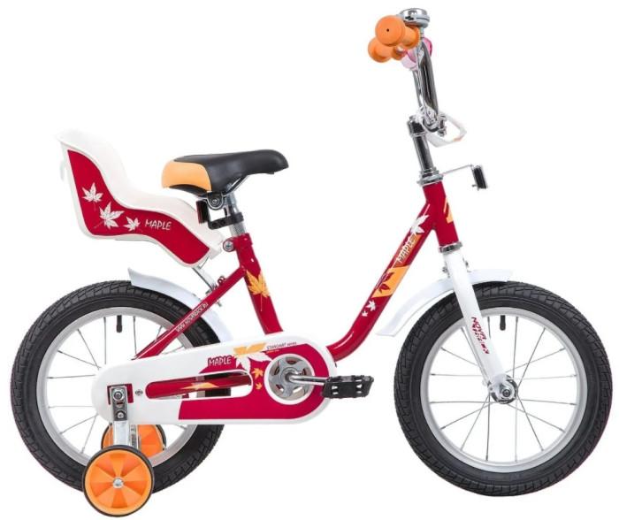 Велосипед двухколесный Novatrack Maple 14Maple 14Велосипед двухколесный Novatrack Maple 14 - это надежный велосипед для девочек 3-5 лет, на котором очень легко будет освоить азы катания на велосипеде, и который обязательно станет предметом гордости маленькой леди.   Особенности: регулируемые сидение и руль  наличие пружинных амортизаторов под сиденьем маленькие дополнительные колеса, которые снимаются сидение для куклы ножной тормоз широкие пластиковые педали укороченные крылья на обоих колесах защита цепи наличие катафотов красивый и блестящий звоночек Диаметр колес: 14<br>