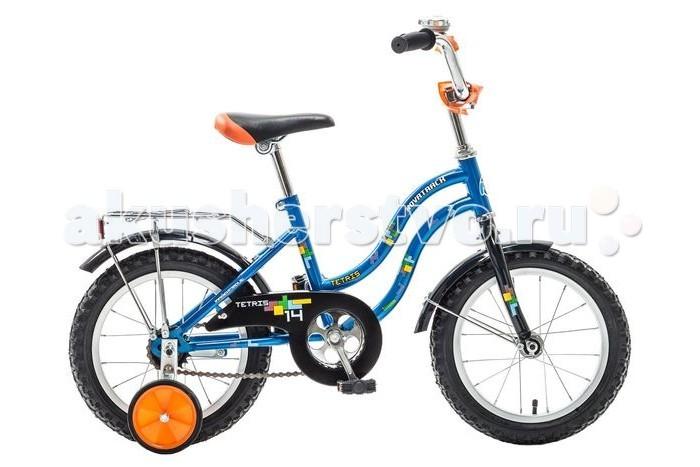 Велосипед двухколесный Novatrack Tetris 14Tetris 14Велосипед двухколесный Novatrack Tetris 14 предназначен для малышей 3-5 лет. Привлекательный дизайн, надежная сборка, легкость и отличная управляемость – значительные преимущества данной модели.   Особенности: двойная стальная и изогнутая рама сиденье мягкое, выполняет роль амортизатора при езде по неровной дороге на цепи есть защитный металлический щиток оборудован системой ограничения поворота руля тормоз ножной крылья удлиненные на руле закреплен небольшой металлический звоночек укомплектован багажником с зажимом катафоты дополнительные страховочные колеса Диаметр колес: 14<br>