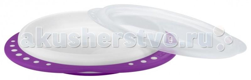 Посуда Nuk Обучающая тарелка Easy Learning с крышкой, мелкая nuk тарелка