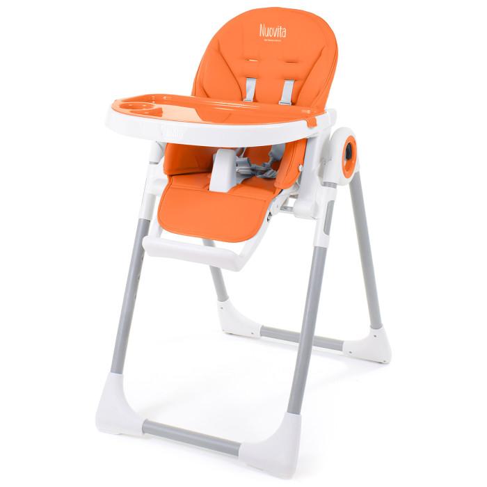 Стульчик для кормления Nuovita  GrandeGrandeСтульчик для кормления Nuovita Grande модель для детей от 6 месяцев и до 3 лет.   Благодаря регулируемой по наклону спинке этот стул можно использовать вместо шезлонга для детей, которые уже учатся самостоятельно сидеть. Система компактного сложения позволяет пользоваться стульчиком даже на самой маленькой кухне.  Особенности: 5 положений наклона спинки. Максимальный угол составляет 135 градусов высота сиденья над полом регулируется в 7 положениях глубина подноса устанавливается в 2 положениях сверху столика крепится поднос подножка поднимается стульчик Нуовита Гранде с пятиточечными ремнями безопасности и высоким пластиковым разделителем между ножек чехол сшит из экокожи, снимается, подлежит чистке складывается в компактную конструкцию, стоит в сложенном виде для перемещения по комнате предусмотрены колесики на задних ножках Размеры и вес: высота спинки:44 см ширина спинки: 36 см ширина сиденья: 32 см глубина сиденья: 23 см длина подножки: 20 см длина столика: 31 см ширина столика: 51 см расстояние от столика до спинки: 21, 25 см размеры разложенном состоянии (ДхШхВ): 82 x 55 x 105 см<br>