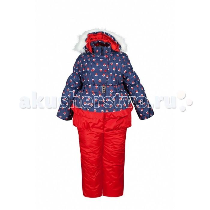 Oldos Комплект для девочки ВишняКомплект для девочки ВишняКомплект для девочки OLDOS Вишня. В нарядном и уютном костюме из зимней коллекции OLDOS Вашей маленькой принцессе будет тепло и комфортно наслаждаться самыми долгими зимними прогулками. В морозные и особенно ветреные дни съемная подстежка из овечьей шерсти убережет Вашу малышку от холода, а когда немного потеплеет, подстежку с легкостью можно будет отстегнуть. Покрытие Teflon на ткани костюма создаст надежную защиту от снега и грязи, а легчайший утеплитель Hollofan 250 г/м2 в куртке и 200 г/м2 в брюках подарит ребенку удовольствие от прогулки в любую, даже самую холодную и снежную погоду.  Мягкая хлопковая подкладка на спине и груди куртки приятно прилегает к телу, а гладкий полиэстер в рукавах, капюшоне и в полукомбинезоне помогает с легкостью одеть костюм на любую одежду. Мокрый липкий снег и пронизывающий холодный ветер не смогут помешать вашим зимним прогулкам - ветрозащитная планка, съемная опушка из искусственного меха на капюшоне, снего- ветрозащитные муфты в рукавах и брючинах надежно защитят ребенка от зимней непогоды.  Широкие эластичные лямки полукомбинезона регулируются по длине, а резинка на талии подчеркивает силуэт и обеспечивает отличное прилегание. В этом костюме можно будет отправиться на прогулку даже в сумерках - светоотражающие элементы сделают Вашу малышку заметной в темное время суток, а присборенный на резинку низ куртки и стильный пояс с металлической пряжкой позволят ей почувствовать себя самой модной и красивой девочкой на прогулке.<br>