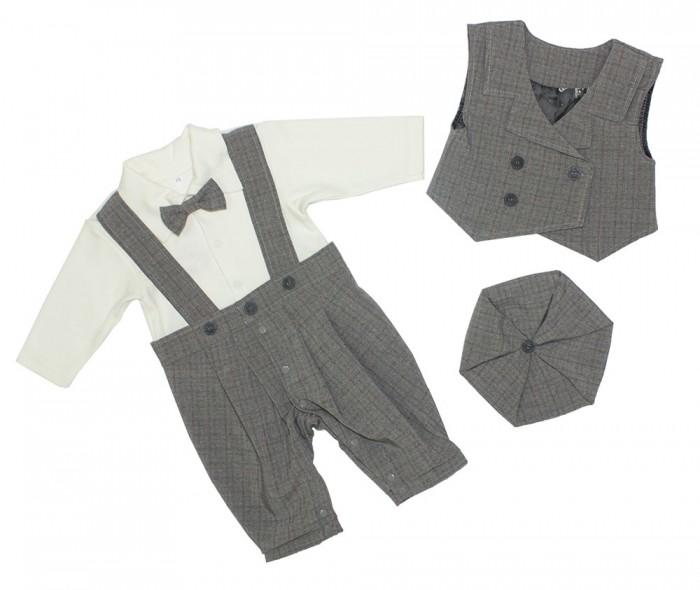 Комплекты детской одежды Осьминожка Комплект для мальчика (полукомбинезон, жилет, кепка) Хочу в школу