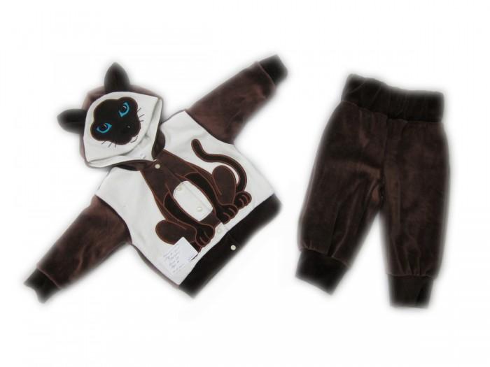 Осьминожка Костюм Кошка В мире животныхКостюм Кошка В мире животныхКостюм: кофточка и брюки для малышей Кошка выполнен в коричнево-белой цветовой гамме и имитирует внешний вид кошки, который поднимет настроение не только вам, но и малышу.   Такая одежда станет отличным и просто незаменимым элементом гардероба, который подарит вашему малышу тепло и уют. Кофточка имеет удобные застежки-кнопки по всей длине, что облегчит переодевание малыша. Штанишки на широкой резинке.  Капюшон имеет ушки, на передней его части он украшен изображением мордочки. На животике изделие напоминает тельце животного.   Костюм для детей выполнен из абсолютно качественного материала, который не вызывает аллергических реакций и раздражений на коже вашего малыша.   Верхняя часть изделия изготовлена из качественного велюра, который приятен коже, а подкладка сделана из интерлока.  Материал: высококачетсвенный велюр (состав: 80% хлопок, 20% п/э), кофта на подкладке из интрелока (состав: 100% хлопок)  Уход: Ручная стирка при 30 гр.<br>