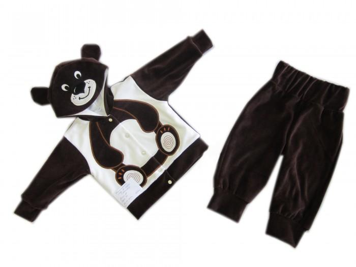 Осьминожка Костюм Мишка В мире животныхКостюм Мишка В мире животныхКостюм: кофточка и брюки для малышей Мишка выполнен в коричнево-белой цветовой гамме и имитирует внешний вид мишку, который поднимет настроение не только вам, но и малышу.   Такая одежда станет отличным и просто незаменимым элементом гардероба, который подарит вашему малышу тепло и уют. Кофточка имеет удобные застежки-кнопки по всей длине, что облегчит переодевание малыша. Штанишки на широкой резинке.  Капюшон имеет ушки, на передней его части он украшен изображением мордочки. На животике изделие напоминает тельце животного.   Костюм для детей выполнен из абсолютно качественного материала, который не вызывает аллергических реакций и раздражений на коже вашего малыша.   Верхняя часть изделия изготовлена из качественного велюра, который приятен коже, а подкладка сделана из интерлока.  Материал: высококачетсвенный велюр (состав: 80% хлопок, 20% п/э), кофта на подкладке из интрелока (состав: 100% хлопок)  Уход: Ручная стирка при 30 гр.<br>