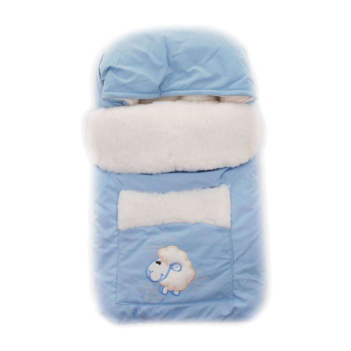 Зимний конверт Осьминожка Овечка с карманомОвечка с карманомКонверт зимний меховой для прогулки.   Конверт для деток на прогулку в зимний период. Имеет две боковые молнии для удобства расположения малыша.   Защитит вашего малыша в зимний период от холода.   Отличного подойдет для Вашего малыша как для использования в коляске, так и в дальнейшем.  Состав: Верх: фитсистем (40% х/б, 45% п/э, 15% нейлон), подклад: мех на трикотажной основе (70% шерсть, 30% п/э), флис (100% п/э), наполнитель: холкон (100% п/э)  Уход: ручная стирка 30 градусов.<br>