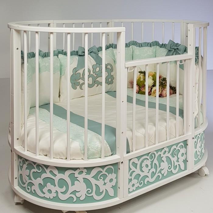Кроватки-трансформеры Островок уюта овальная EVA декор Арабески маятник поперечный