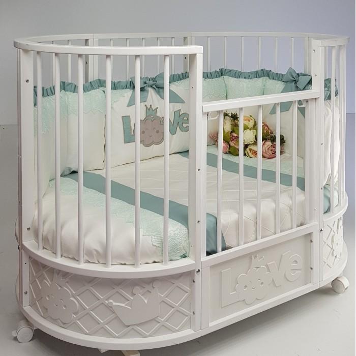 Кроватка-трансформер Островок уюта овальная EVA декор Принц маятник поперечный