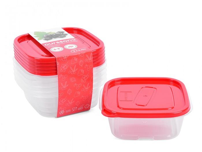 Контейнеры для еды Oursson Набор квадратных пластиковых контейнеров 450 мл 5 шт.