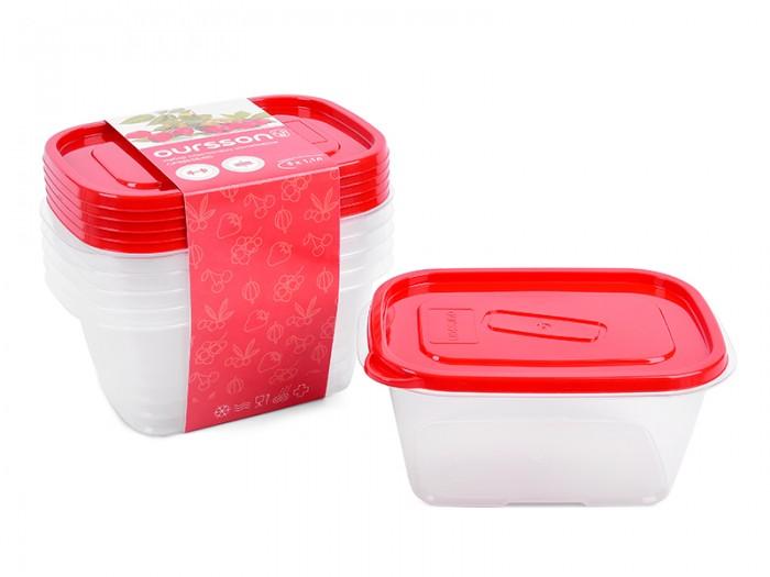 Контейнеры Oursson Набор пластиковых контейнеров 1.1 л 5 шт. набор контейнеров idea квадратные цвет салатовый 0 5 л 3 шт