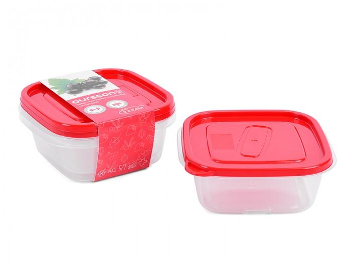 Контейнеры для еды Oursson Набор квадратных пластиковых контейнеров 450 мл 2 шт.