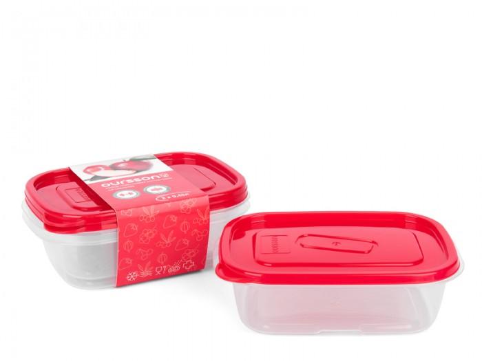 Контейнеры Oursson Набор прямоугольных пластиковых контейнеров 450 мл 2 шт. kitchenaid набор прямоугольных чаш для запекания 0 45 л 2 шт красные