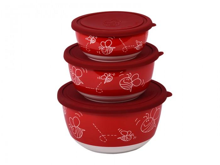 Контейнеры для еды Oursson Набор салатников с крышкой BS4087RC/RD набор салатников с крышкой oursson bs1890rc ga