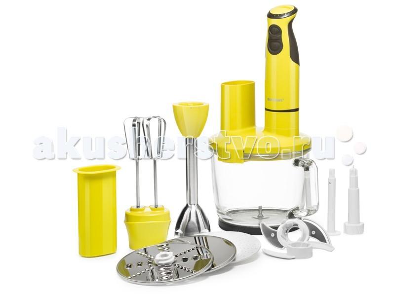 Oursson  Погружной блендер HB4040Погружной блендер HB4040Oursson Погружной блендер HB4040 с многофункциональной стеклянной чашей максимально оснащённый различными ножами, терками, дисками-шинковками, сэкономит драгоценное время на приготовление пищи.  Особенности:  С помощью насадки для пюрирования легко приготовить пюре или паштет, венчиком взбить белки, крем, тесто для блинов или молочный коктейль, с помощью диска-шинковки нарезать ломтиками сыр, колбасу или овощи.  Диски-терки приготовят салат или потрут овощи для супа, а нож-измельчитель превратит мясо или рыбу в фарш, измельчит лук и чеснок, орехи, крупы, кофе, специи, и даже приготовит сахарную пудру.  Чаша, идущая в комплекте, выполнена из высококачественного стекла, которое не поцарапается твердыми продуктами или кусочками льда. Ее можно наполнять горячими ингредиентами и жидкостью. Потребляемая мощность: 400 Вт Количество уровней мощности: 13 Ножи для измельчения  Насадка венчик Чаша для измельчения Регулировка мощности вращения  Взбивание  Измельчение<br>