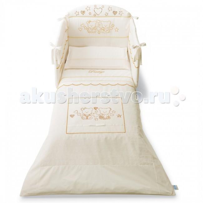 Комплект в кроватку Pali Prestige (3 предмета)Prestige (3 предмета)Комплект постельного белья Prestige Pali Белье украшено стразами, с аппликациями в виде мишек.   В комплект входят:  • Борт на три стороны  • Одеяло-покрывало 125 х 87 см с синтепоновым наполнением  • Наволочка 59 х 38 см  Постельное белье в детскую комнату Prestige, выполнено в классических тонах коллекции, декорировано вышивкой мишки и стразами. Комплекты отличаются высоким качеством пошива.  Благодаря устойчивым красителям, белье сохраняет насыщенность красок и безупречный вид после стирки. Состав: 100% хлопок<br>