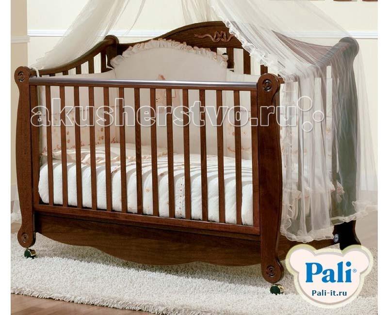 Детская кроватка Pali RigolettoRigolettoДетская кроватка Pali Rigoletto  - изящная, массивная, богатая модель. Кроватку характеризует уникальный  классический  дизайн . Украшена объемным орнаментом. Изготовлена из древесины бука, покрыта красками из натуральных компонентов и нетоксичными лаками.   Имеет внутренний размер 125*65 см. и подходит для детей от 0 до 5 лет.  Наружный размер 147*71 см.  Оборудована запатентованым механизмом  опускания боковин, который позволяет бесшумно одной рукой опускать и поднимать одну боковину. При этом исключена возможность ребенку самому это сделать.  На верхней части боковины установлены силиконовые накладки для зубов.  Подматрасник кровати выполнен в виде ортопедической сетки из неокрашенного бука и устанавливается в одном положении по высоте на расстоянии 64 см. от поднятой боковины.   Колеса покрыты резиновыми накладками , два колеса оборудованы блокирующим тормозом.  Имеется выдвижной ящик, разделенный на две секции, выполненный из ламинированных панелей.   Кровать продается без матраса.<br>