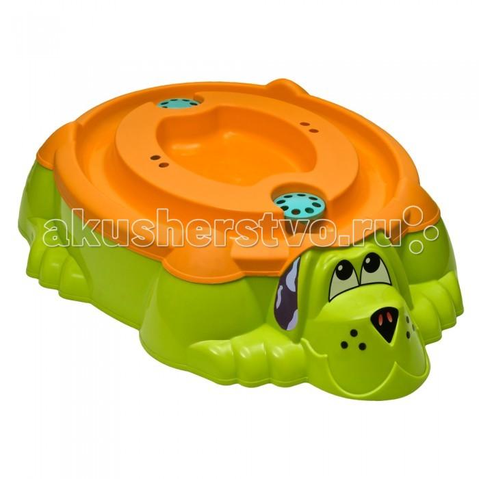 Palplay (Marian Plast) Песочница-бассейн Собачка + крышкаПесочница-бассейн Собачка + крышкаПесочница-бассейн Собачка + крышка 2в 1. Песочница-бассейн Собачка с крышкой для детей от 2-х лет. Забавный пес дает возможность выбора кем ему быть: песочницей или бассейном для ребенка. Для весёлой игры в песок или с водой летом на даче. В комплект входит крышка, которая предохраняет бассейн-песочницу от загрязнений.   Внимание! Крышка может отличатся от цвета песочницы!   Размер: 115 х 92 х 25 см  Вес: 5,5 кг<br>
