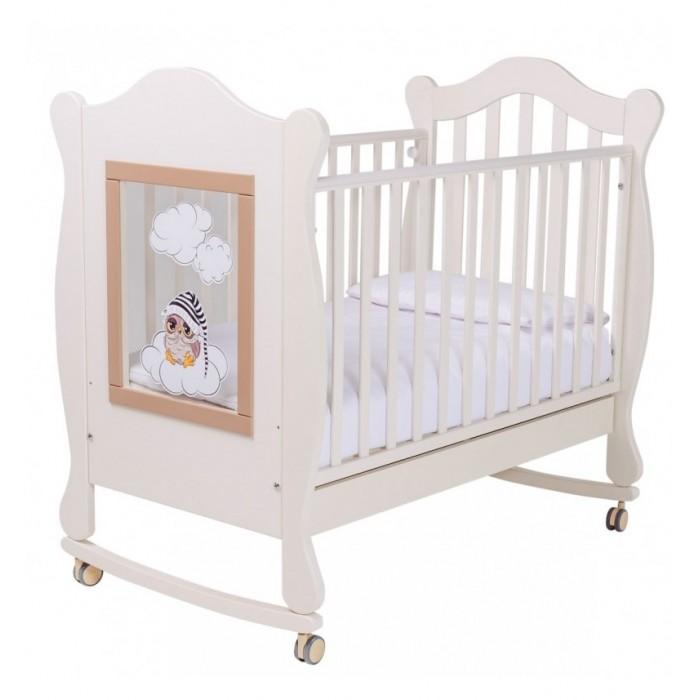 Детская мебель , Детские кроватки Papaloni качалка Finestra 120х60 с декором арт: 522881 -  Детские кроватки
