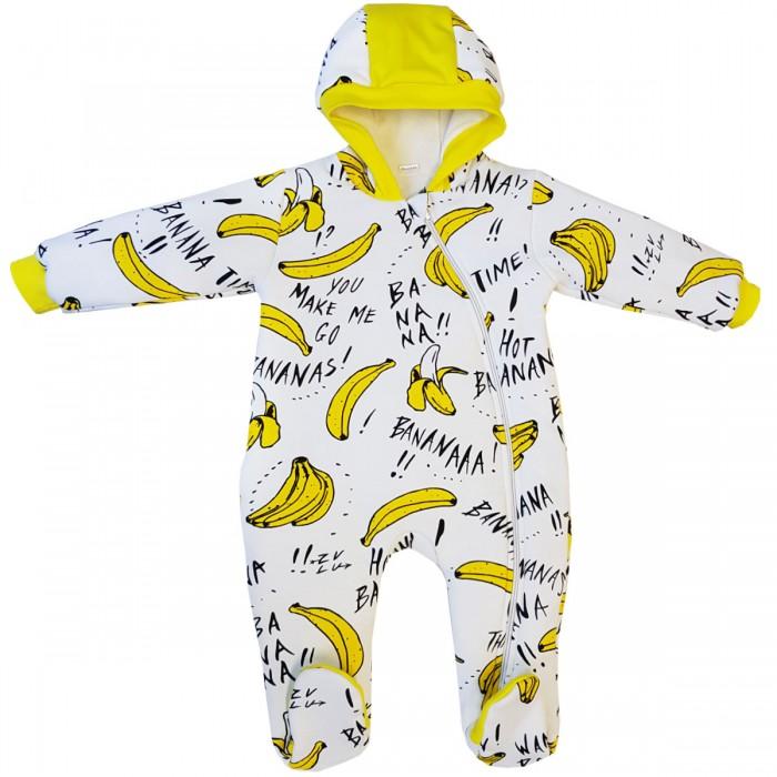 Купить Комбинезоны и полукомбинезоны, Папитто Комбинезон утепленный Бананы на молнии с капюшоном