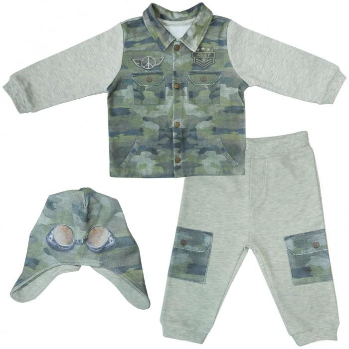 Комплекты детской одежды Папитто Комплект (кофточка, штанишки и шапочка) для девочки Fashion Jeans 585-05, Комплекты детской одежды - артикул:519971