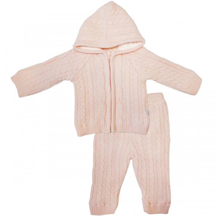 Комплекты детской одежды Папитто Комплект вязаный на подкладке джемпер с капюшоном и брюки 2 предмета