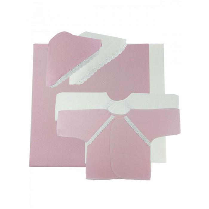Комплекты на выписку Папитто (6 предметов) пеленка трикотажная трон плюс цвет розовый 120 см х 90 см