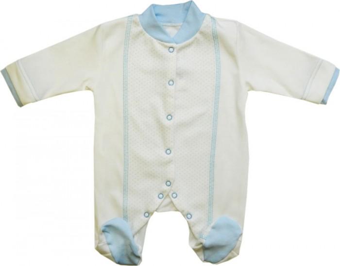 Комбинезоны и полукомбинезоны Папитто Комбинезон классика комбинированный Горошек ивановский трикотаж одежда для новорожденных