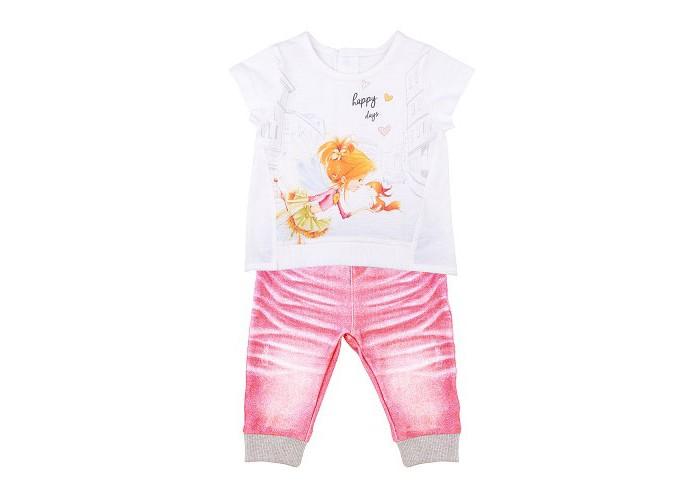 Комплекты детской одежды Папитто Комплект из футболки и штанишек для девочки Fashion Jeans рубашки футболки для детей