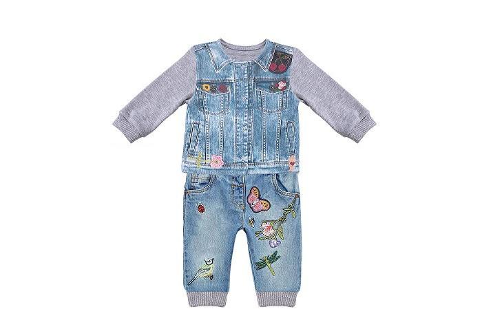 распашонки и кофточки Комплекты детской одежды Папитто Комплект из кофточки и штанишек для девочки Fashion Jeans 591-05