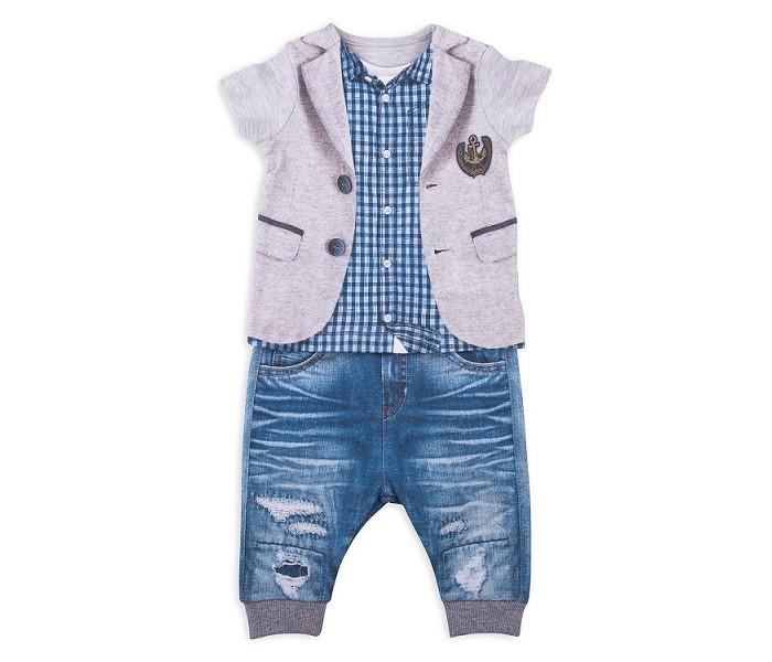 Комплекты детской одежды Папитто Комплект из футболки и штанишек для мальчика Fashion Jeans 511-04 рубашки футболки для детей