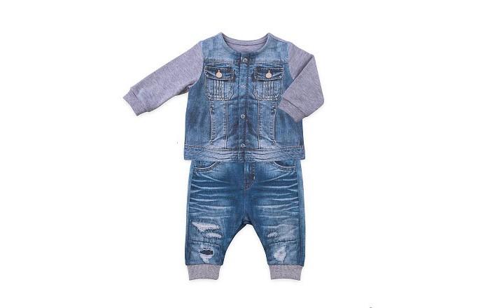 Папитто Комплект из кофточки и штанишек для мальчика Fashion Jeans 581-05Комплект из кофточки и штанишек для мальчика Fashion Jeans 581-05Папитто Комплект из кофточки и штанишек для мальчика Fashion Jeans 581-05 изготовлен из 100% хлопка, оригинальные принты на трикотаже в виде синих джинс с потёртостями и  серой трикотажной кофты с джинсовой жилеткой.    Уход: Ручная, автомат 30 градусов, не отбеливать, без отжима.<br>
