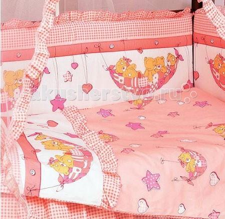 Комплект в кроватку Папитто Мишки в гамачке (7 предметов)Мишки в гамачке (7 предметов)Постельное белье Папитто Мишки в гамачке 7 предметов изготовлено из качественных, натуральных материалов. При нанесении рисунка используются исключительно натуральные красители, поэтому детское постельное белье Папитто безопасно и гипоаллергенно.   В комплекте:   бортик на 4 стороны кроватки  балдахин  одеяло 110х140  подушка 40х60  наволочка 40х60  пододеяльник 147х112  простынь 100х150   Материал: 100% хлопок синтетическое, антиалергенное, высокого качества волокно периотек наполнитель - полиэстер<br>