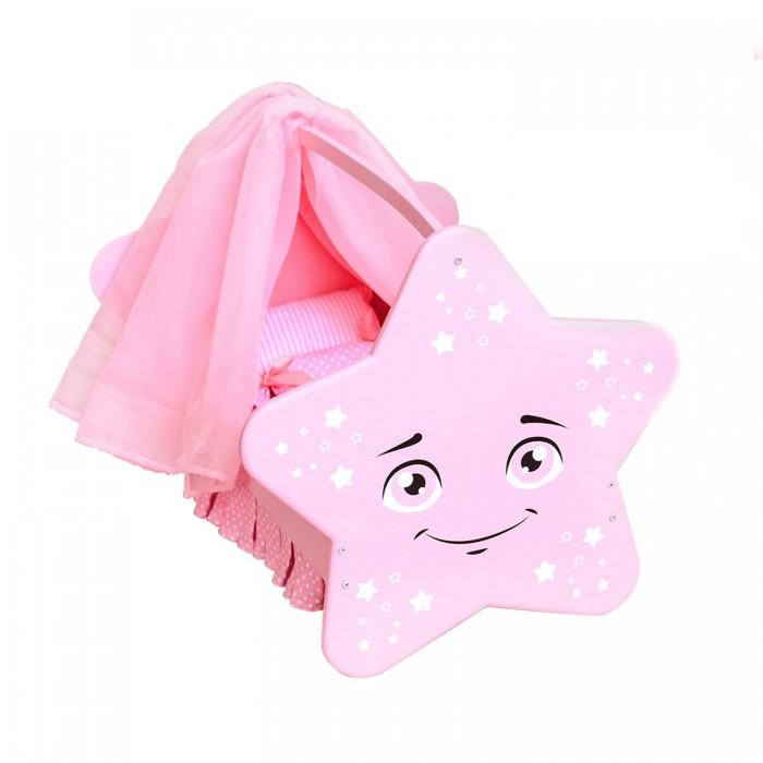 Кроватки для кукол Paremo колыбель Звездочка с постельным бельем и балдахином