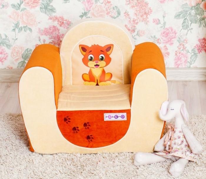 Paremo Детское кресло КотенокДетское кресло КотенокParemo Детское кресло Котенок обязательно понравится ребенку, и прекрасно дополнит любой детский интерьер. Кресло бескаркасное, мягкое и эргономичное, что делает его максимально удобным для малыша.   Особенности: Создано для мальчиков и девочек в возрасте 1-4 лет Кресло имеет бескаркасную и абсолютно безопасную для малыша конструкцию Сидение мягкое и эргономичное, принимает нужную форму под весом ребенка Размеры креслица: 54 х 45 х 38 см. Вес: 3 кг Высота от пола до сидения: 18 см Размеры сидения: 28 х 26 см<br>