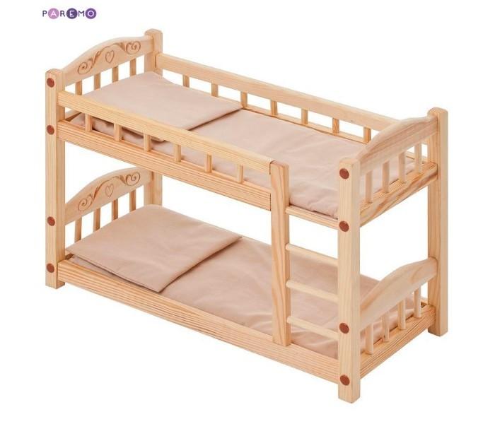 Paremo Двухъярусная кроватка для куколДвухъярусная кроватка для куколParemo Двухъярусная кроватка для кукол   - Большая двухъярусная кроватка для кукол с бежевым текстилем – это качественная и прочная игрушка, предназначенная для больших кукол (до 49 см). Кровать выполнена из массива дерева, абсолютно безопасна и экологична. - Комплектация игрового набора: кукольная кровать, 2 матраса, 2 подушки - Цвет текстиля: бежевый - Материалы: дерево, пропитанное льняным маслом для защиты от коррозии; текстиль - Размеры кроватки (ВхШхД): 34 х 23 х 49 см - Сборка: кроватка поставляется в разобранном виде, требуется несложная сборка. Кровать нерасборная. - Упаковка: кровать и аксессуары упакованы в прозрачный пакет ВНИМАНИЕ! Цвет текстиля может незначительно изменяться в зависимости от партии поставки. Куклы и мягкие игрушки приобретаются отдельно!  Отличительные особенности: Двухъярусная кукольная кроватка полностью деревянная, а следовательно, экологичная и безопасная, простая и понятная даже самому маленькому ребенку. Игрушка произведена в России.<br>