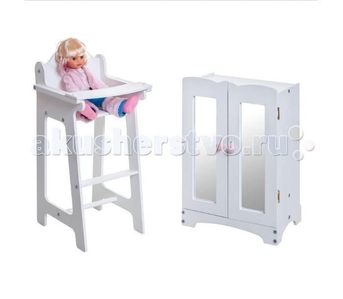 Paremo Набор кукольной мебели (шкаф+стул)Набор кукольной мебели (шкаф+стул)Paremo Набор кукольной мебели (шкаф+стул) для любимой куклы. Подходит для кукол высотой до 50 см.   Сюжетно-ролевая игра способствует развитию фантазии и воображения, творческого и логического мышления, речи и навыков общения. В процессе игры вырабатываются ловкость и слаженность движений рук, мелкая моторика и координация.  В комплекте: стульчик для кормления  шкаф  6 вешалок   Кукла в комплект не входит.  Размеры: Стул: 31х26х55 см Шкаф: 30х22х48 см<br>