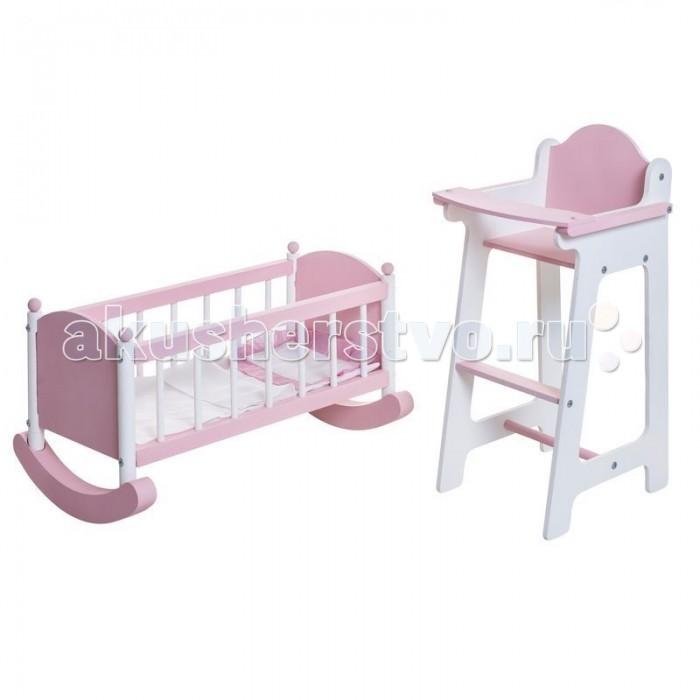 Paremo Набор кукольной мебели (стул+люлька)Набор кукольной мебели (стул+люлька)Paremo Набор кукольной мебели (стул+люлька) для любимой куклы. Подходит для кукол высотой до 50 см.   Сюжетно-ролевая игра способствует развитию фантазии и воображения, творческого и логического мышления, речи и навыков общения. В процессе игры вырабатываются ловкость и слаженность движений рук, мелкая моторика и координация.  В комплекте: стул для кормления с поднимающимся бампером-столиком кроватка-люлька  шкаф  матрас  одеяло  подушка  6 вешалок   Размеры: Стул: 31 x 26 x 55 см Люлька: 60 x 31 x 29 см<br>