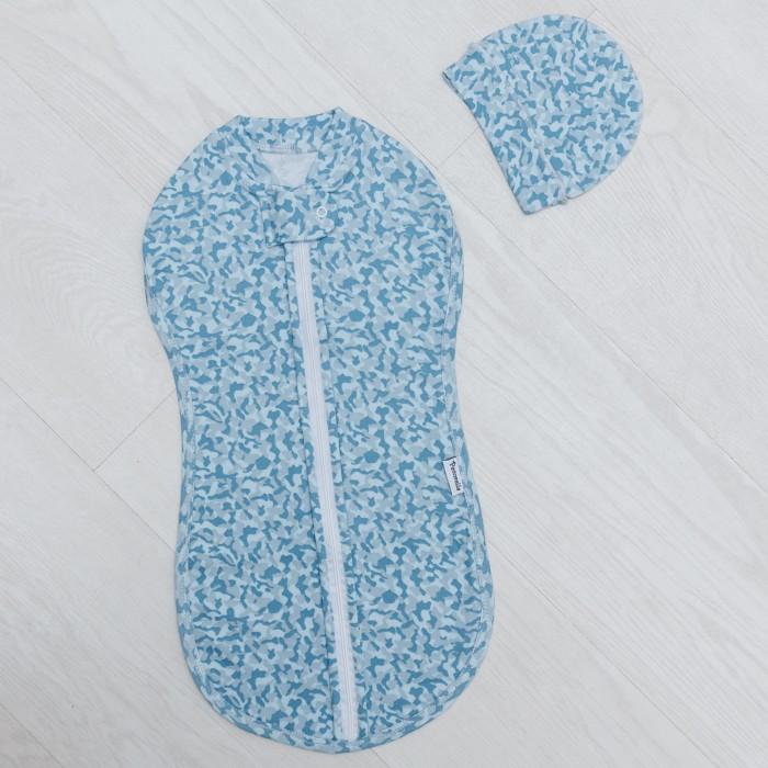 Пеленки Pecorella Кокон на молнии и шапочка Army design