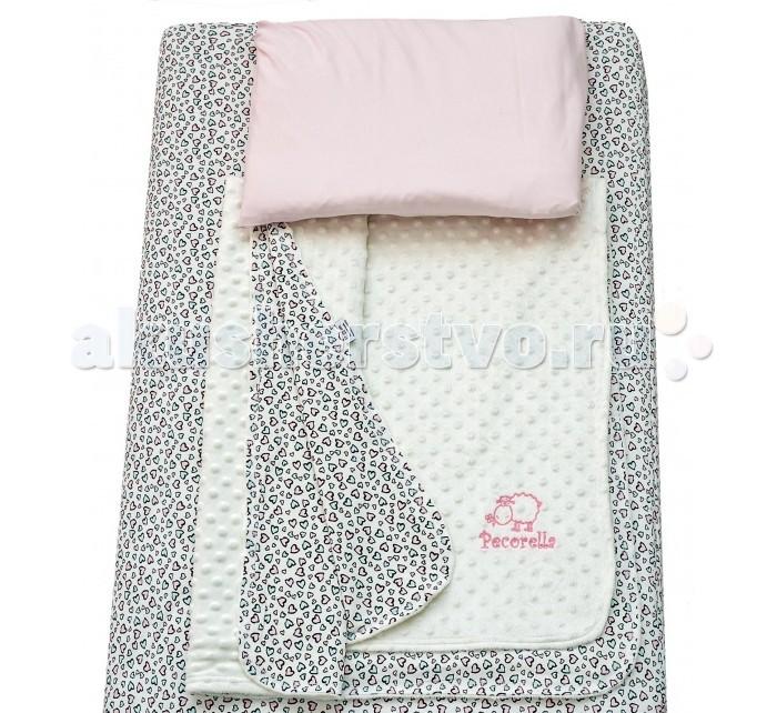 Постельное белье Pecorella Hearts (3 предмета)Hearts (3 предмета)Pecorella Комплект детское постельное белье  Комплект постельного белья из 100% хлопка Простыня на резинке, которая сохранит форму, нарядный вид, ощущение чистоты и порядка в кроватке Во время сна ребёнок не должен быть перегрет Мягкий плед - вот что нужно Вашему малышу во время сна. Он отлично пропускает воздух. Получается и тепло, и кожа малыша не потеет. Плед - одеяло на основе хлопкового велюра является брендовым и обладает не только носкостью, но и прекрасно выглядит. Мягкий бархатистый ворс на одной стороне и нежный трикотаж на другой способствуют приятным тактильным ощущениям. В комплект входит также наволочка(50х30 см) из нежного трикотажа, которая подарит Вашему малышу ощущение уюта и тепла В наборе: Простыня на резинке (120х60 см), Мягкий плед (120х90 см), наволочка (50х30 см)<br>