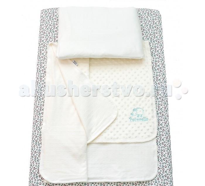 Комплект в кроватку Pecorella Hearts (3 предмета)Hearts (3 предмета)Pecorella Комплект детское постельное белье  Комплект постельного белья из 100% хлопка Простыня на резинке, которая сохранит форму, нарядный вид, ощущение чистоты и порядка в кроватке Во время сна ребёнок не должен быть перегрет Мягкий плед - вот что нужно Вашему малышу во время сна. Он отлично пропускает воздух. Получается и тепло, и кожа малыша не потеет. Плед - одеяло на основе хлопкового велюра является брендовым и обладает не только носкостью, но и прекрасно выглядит. Мягкий бархатистый ворс на одной стороне и нежный трикотаж на другой способствуют приятным тактильным ощущениям. В комплект входит также наволочка(50х30 см) из нежного трикотажа, которая подарит Вашему малышу ощущение уюта и тепла В наборе: Простыня на резинке (120х60 см), Мягкий плед (120х90 см), наволочка (50х30 см)<br>