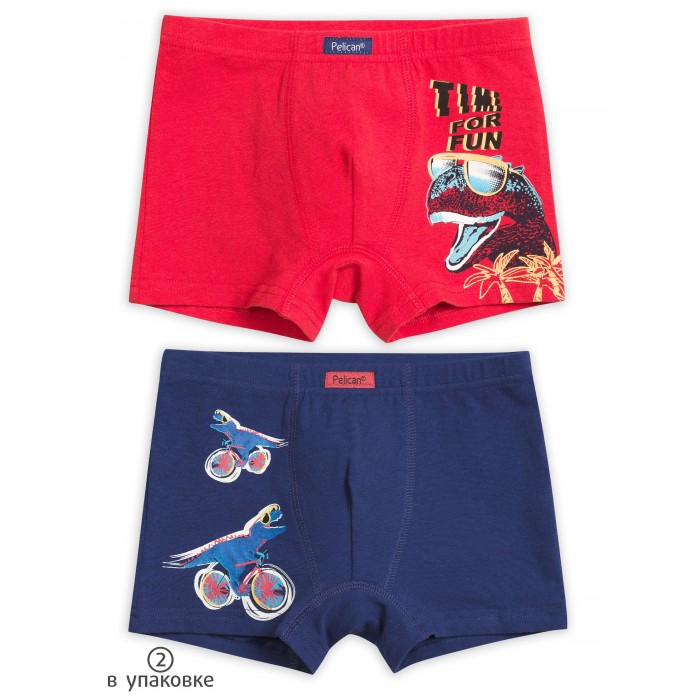 Купить Белье и колготки, Pelican Трусы-шорты для мальчика Динозавр 2 шт.