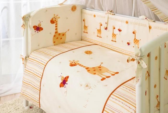 Комплект в кроватку Perina Кроха (7 предметов)Кроха (7 предметов)Эксклюзивный красочный дизайн комплекта Кроха позволит малышу окунуться в мир положительных эмоций.  Бампер на молнии состоит из 4-х частей, балдахин шириной 4,5 метра полностью укрывает кроватку, простынь на резинке идеально облегает матрас.  Ткань легко стирается и не линяет даже при высоких температурах. Разрешена ручная или деликатная машинная стирка (для бампера - до 30С).  В комплекте: Простыня на резинке 105х170 см Наволочка 40х60 см Подушка 40х60 см Пододеяльник на молнии 102х143 см Одеяло 100х140 см Бампер из 4-х частей со съемным чехлом 38х360 см Балдахин 165х450 см<br>