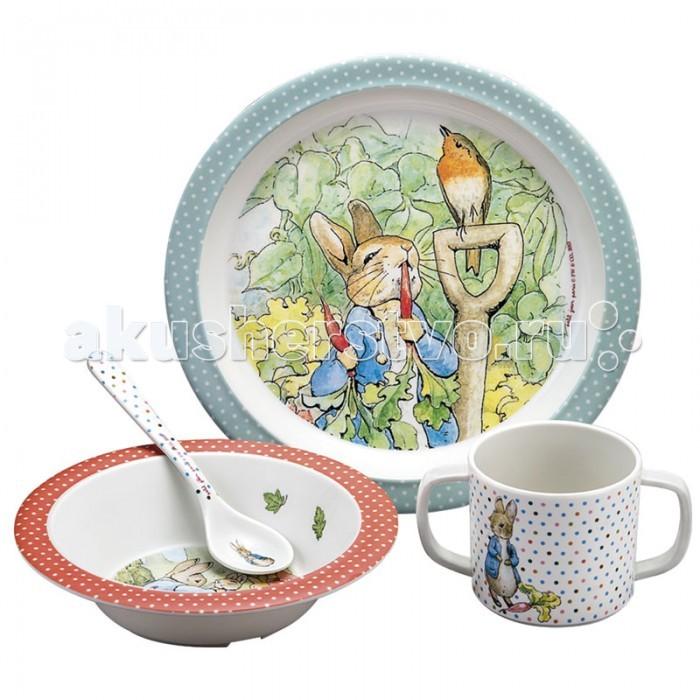 Petit Jour Набор детской посуды Peter RabbitНабор детской посуды Peter RabbitPetit Jour Набор детской посуды Peter Rabbit в подарочной упаковке. Ваш малыш будет кушать с удовольствием!   Особенности: набор изготовлен из гипоаллергенного материала 0% фталатов и BPA (бифенол А) на дне тарелки есть веселый рисунок, для того, чтобы ее разглядеть, нужно опустошить тарелку тарелка с нескользящим дном и широкими краями, что обеспечивает ее устойчивость и непроливание пищи глубокая ложечка удобная ручка у ложки идеальна для самостоятельного питания кружка с двумя ручками тарелку и приборы можно мыть в посудомоечной машине  не подходит для использования в микроволновой печи и для горячих напитков  В комплекте: тарелка, глубокая тарелка, ложка и кружечка. В подарочной упаковке.  Размер: ложка 14 см, глубокая тарелка 16 см, тарелка 21 см, кружка 7х9 см<br>