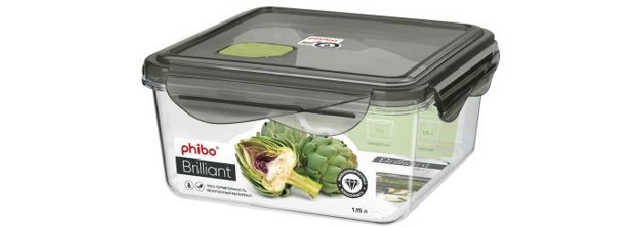 Картинка для Контейнеры для еды Phibo Контейнер герметичный с клапаном квадратный Brilliant 1.15 л