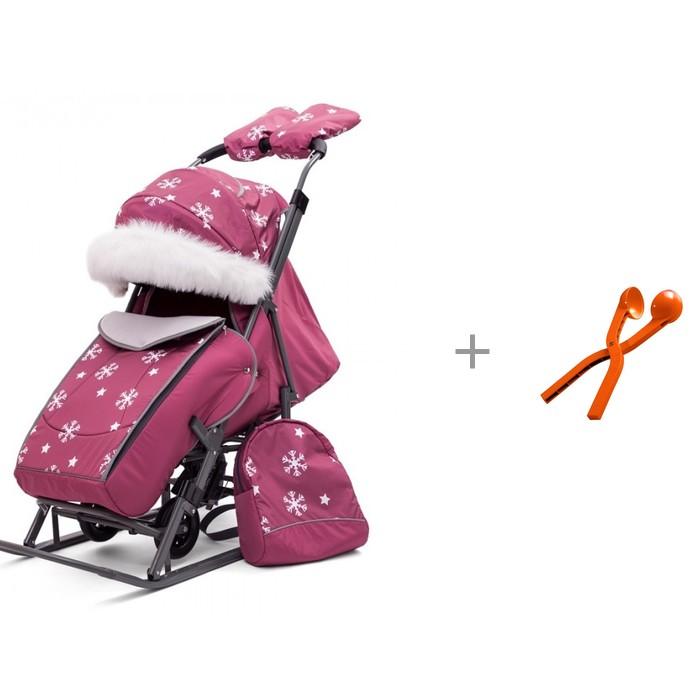 Купить Санки-коляски, Санки-коляска Pikate Снежинки со снежколепом Снежкодел.рф мини 8594